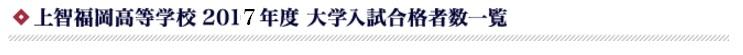 上智福岡高等学校 2017年度 大学入試合格者数一覧 ※()内数字は現役生