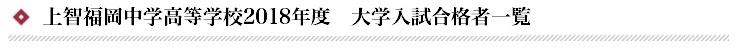 上智福岡高等学校 2018年度 大学入試合格者数一覧 ※()内数字は現役生